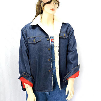 Vintage 70s denim Sherpa coat / size L / XL / 46 R / 1970s Sears Roebucks Western Wear / denim shearling jacket / western / retro denim coat
