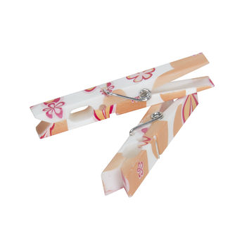 Household Essentials Modern Floral Plastic Clothespin (pack of 14)