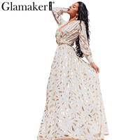 Gold feather print long sleeve split robe sexy dress Autumn party women maxi dress 2016 Elegant club dress vestidos