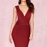 Clothing : Bandage Dresses : 'Ginevra' Wine Cross Front Bandage Dress