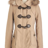 ModCloth 60s Mid-length Long Sleeve Harvest Fest Coat in Camel