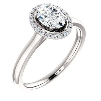 0.75 Ct Oval Halo-styled Diamond Engagement Ring 14k White Gold