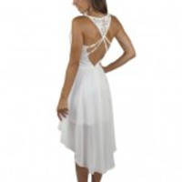 Cream High Low Dress with Cutout Back