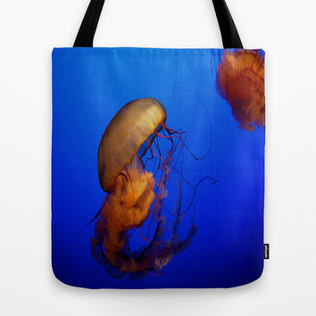 Blue Jellyfish Tote Bag by UMe Images