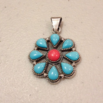 Navajo Turquoise Red Coral Pendant Sterling Silver 925 Petit Point Blue Stone Enhancer Charm Necklace Southwestern Vintage Tribal Jewelry