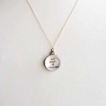 My Body is Healing, Affirmation P.O.M. Candy 14k Gold Filled Necklace