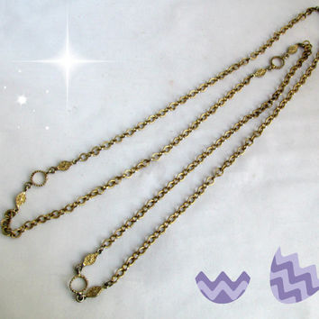 Rope Chain Wrap Necklace Gold Tone Extra Long Vintage Mid Century