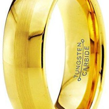 6mm Yellow Gold Tungsten Wedding Band Ring Comfort Fit Dome Brushed Polished (14k, 18k, 24k)