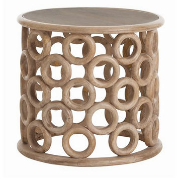 Arteriors Home Kamal Hand Carved Natural Wood Side Table - Arteriors Home 2173