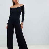 ASOS DESIGN straight off shoulder jumpsuit at asos.com