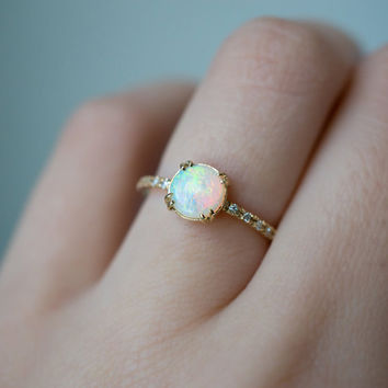 Opal and Diamond Engagement Ring | Single Cut Diamond | Recycled Yellow Gold | 10 Side Stones | Delicate Diamond Hand Pavé Band
