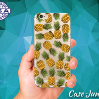 Clear Pineapple Pattern Summer Fruit Cute Tumblr Inspired Custom Clear Transparent Rubber Case Cover For iPhone 6 and iPhone 6 Plus +
