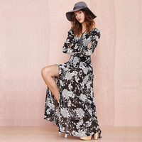 Black Floral Print Long-Sleeve Maxi Dress With Slit