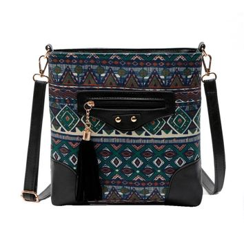Ladies leather shoulder bags for men Bohemian Printing Style Vintage crossbody bag  Women Messenger Bags #5M