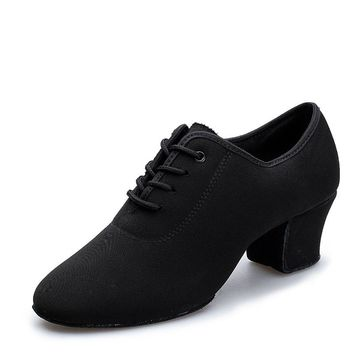Dance shoes women latin salsa shoes for ballroom dancing Adult Two Point Soles Teacher Shoes Soft Dance Shoes Oxford Cloth 7327
