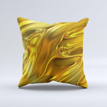 Gold Liquid Metal  Ink-Fuzed Decorative Throw Pillow