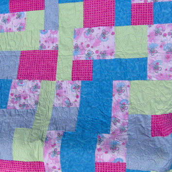 Baby Quilt Flannel and Fleece Toddler Appx 49 x 54 by KQCreations