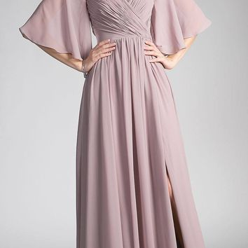 Mauve Cold-Shoulder Long Formal Dress Ruched Bodice