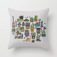 Succulent Party Throw Pillow by Alliedrawsthings   Society6
