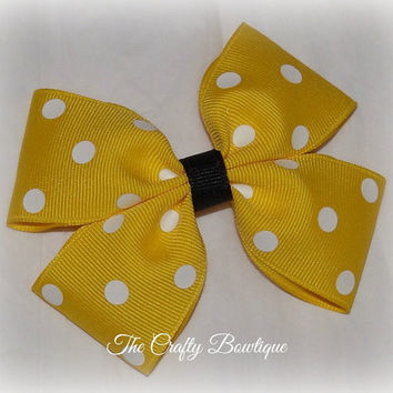 Polka Dot ~ Boutique Hair Bow ~ Yellow and White ~ Bumble Bee ~ Pony Tail Bow ~ Big Hair Bow ~ Summer Hair Bow ~ Spring Hair Bow