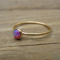 Stacking Ring Gold MMS09 Pink Fire Opal