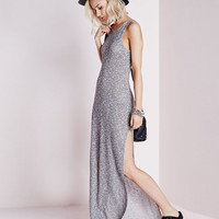 Grey Sleeveless Crochet Maxi Dress
