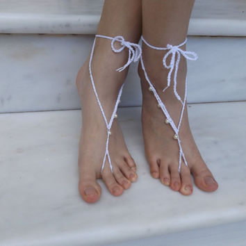 Crochet barefoot Sandals Nude Shoes Foot Jewelry Lace Shoes Yoga Anklet White Barefoot Sandals  Pearl sandals