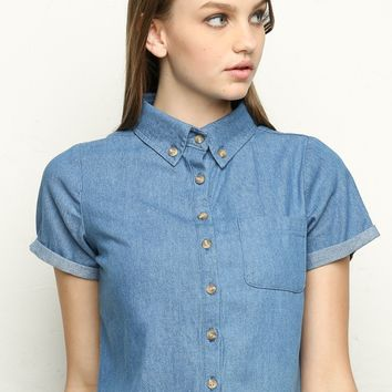 Peyton Denim Shirt - Brandy Melville