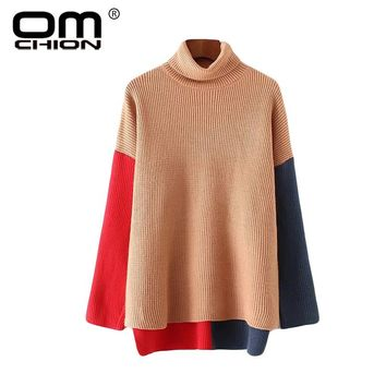 New Autumn Winter Turtleneck Sweater Casual Patchwork Loose Women Sweaters And Pullovers