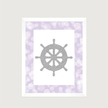 Nautical Silver Ships Wheel Lavender Print Nursery Decor Baby Print CUSTOMIZE YOUR COLORS 8x10 Prints Nursery Decor Art Baby Room Decor Kids