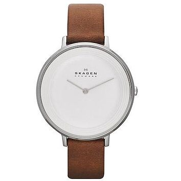 Skagen Womens  Ditte Dress Watch - Stainless Steel - White Dial - Brown Leather