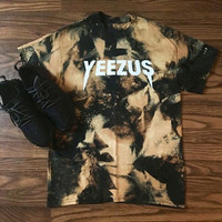 """YEEZUS""loose leisure print Gradient color round neck short sleeve top"
