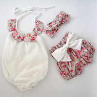 Newborn Boy Girl Polar Baby Jumpsuit Clothing baby romper with headband and shorts