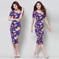 Sexy Women Slim Painted Bodycon Party Clubwear vestidos de fiesta woman clothing Elegant Noble summer Dress