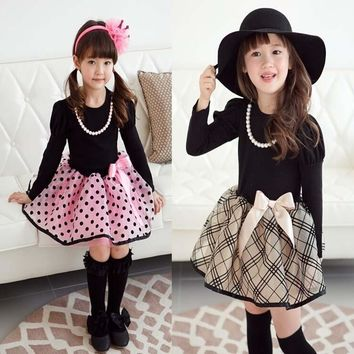 2016 new arrival Christmas Baby Girls Princess long sleeve Polka Dot Plaid Party Fancy Dress girl's clothes