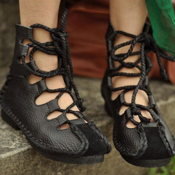Handmade Summer Black Sandals for Women,Flat Lace-up Shoes, Casual Shoes,Sandal, Retro Oxford Shoes, Vintage style Leather Shoes