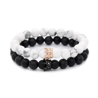 POSHFEEL Couple Black Matte Agate & White Howlite CZ Crown Queen 8mm Beads Bracelet, 7.5""