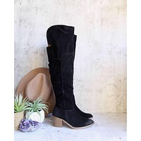 over the knee (OTK) vegan suede boots - black