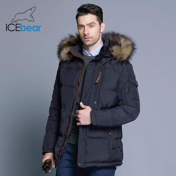 ICEbear Fashion Winter New Jacket Men Warm Coat Fashion Casual Parka Medium-Long Thickening Coat Men For Winter 15MD927D