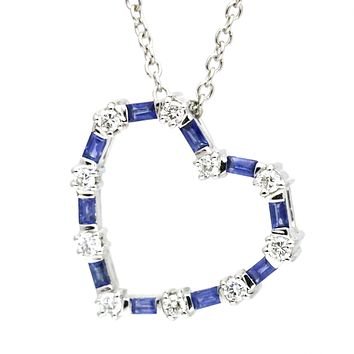 14 Karat White Gold 1.30 Sapphire Diamond Heart Pendant Necklace