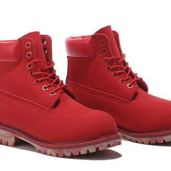 DCCKBE6 Timberland Rhubarb Boots Red Camouflage Shoes Waterproof Martin Boots