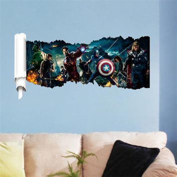 The Super Hero Figures Avengers Vinyl Wall Stickers For Kids Room Pvc Wall Decals Home Decor Fashion Strong Power Dream 1432
