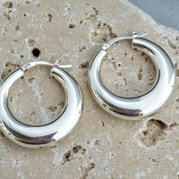 Vintage Sterling Silver 925 Chunky Hoop Earrings Signed JCM - Boho Retro Chic /Art Deco / Classic Classy / Eye Catching / Gift
