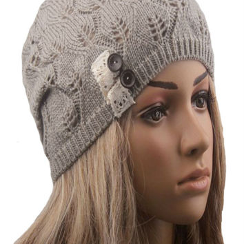 Light Gray Buttons And Lace Hollow Out Knitted Beanie
