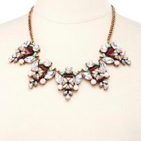 Vintage-Inspired Faceted Stone Statement Necklace - Multi