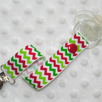 Christmas Chevron Stripe Pacifier Soothie Clip Holder