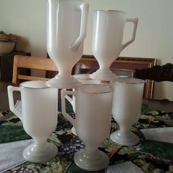 Milk Glass Goblet Set of Six