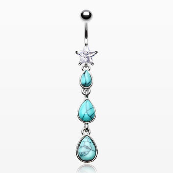 Turquoise Droplets Star Sparkle Belly Button Ring