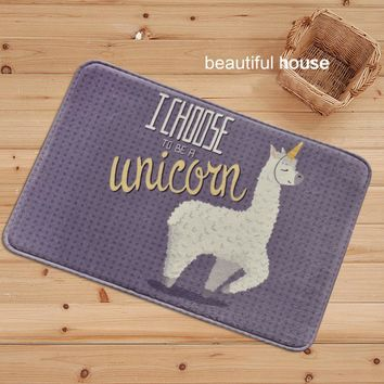 Cartoon White Unicorn Alpaca Print Rectangle Carpets Anti-Slip Kitchen Dining Bedroom Floor Mat Home Decor Welcome Rugs