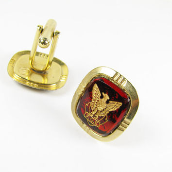 Vintage Cufflinks Fraternal Order of the Eagle, FOB, Red and Gold Tone - Boutons de Manchette.